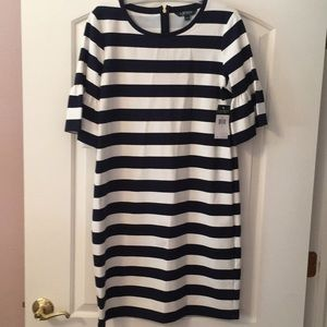 Lauren Ralph Lauren Navy and Cream Stripped Dress.